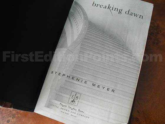 Picture of the first edition title page for Breaking Dawn.