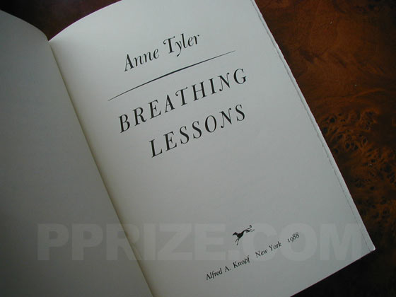 This is the title page from the first trade edition of Breathing Lessons.