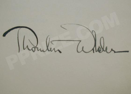 Autograph: Signature of Thornton Wilder.