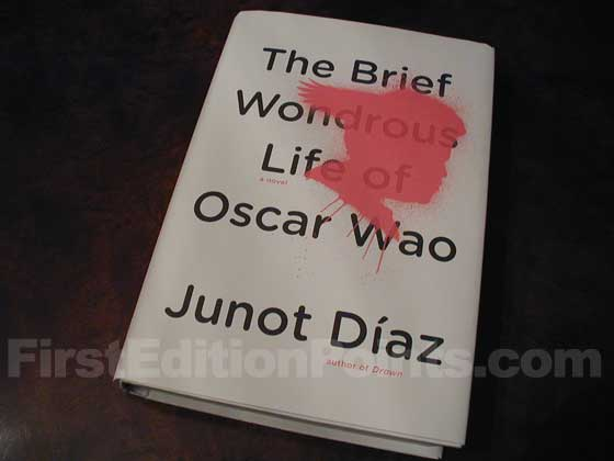 Picture of the 2007 first edition dust jacket for The Brief Wondrous Life of Oscar Wao.