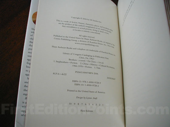 Picture of the first edition copyright page for Brothers.