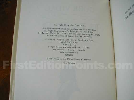 Picture of the first edition copyright page for Burr.