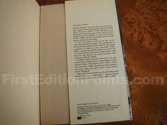 Picture of the back dust jacket flap for the first edition of Burr.