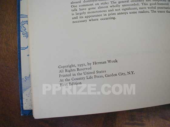 Picture of the first edition copyright page for The Caine Mutiny.