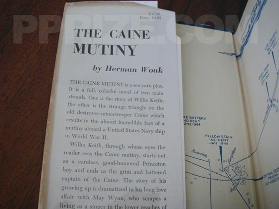 Picture of dust jacket where original $3.95 price is found for The Caine Mutiny.
