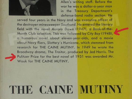 This is a later state dust jacket produced after Caine Mutiny had won the Pulitzer prize