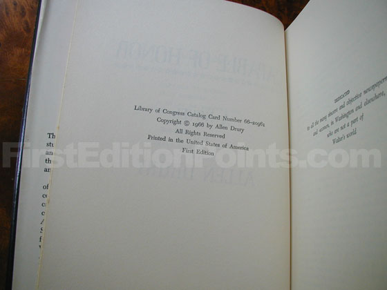 Picture of the first edition copyright page for Capable of Honor.