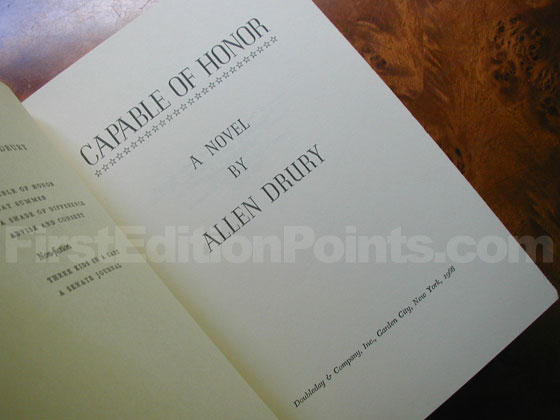 Picture of the first edition title page for Capable of Honor.