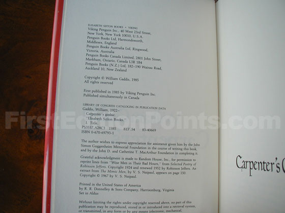 Picture of the first edition copyright page for Carpenter's Gothic.
