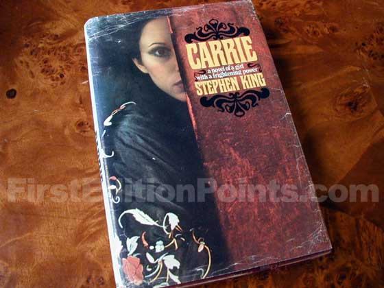 Picture of the 1974 first edition dust jacket for Carrie.
