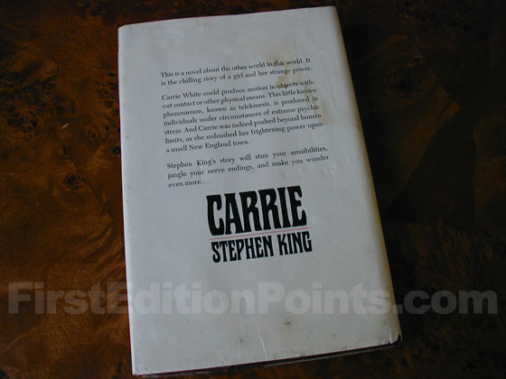 Picture of the back dust jacket for the first edition of Carrie.