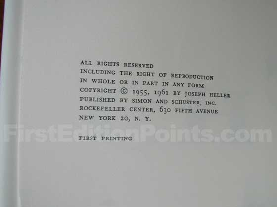 Picture of the first edition copyright page for Catch-22.