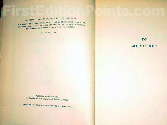 Picture of the first edition copyright page for The Catcher in the Rye.