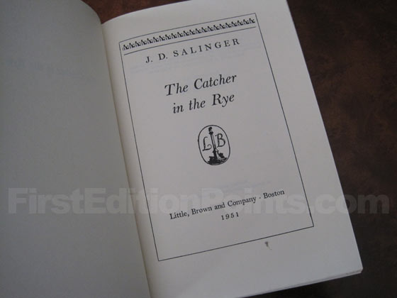 Picture of the first edition title page for The Catcher in the Rye.