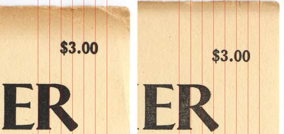 The flap on the left is from a first printing.  The red lines are added to show the