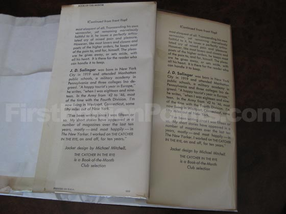 The back flap on the left is from an early book club edition.  The back flap on the right