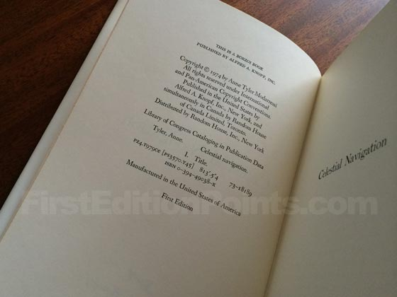 Picture of the first edition copyright page for Celestial Navigation.
