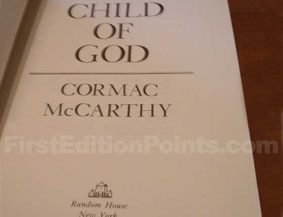 Picture of the first edition title page for Child of God.