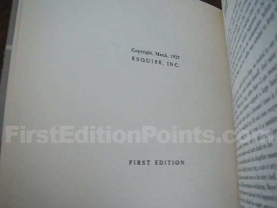 FIRST EDITION is stated on the true first edition of Christ in Concrete (the 1937 Esquire