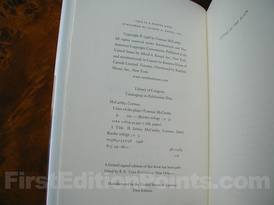 Picture of the first edition copyright page for Cities of the Plain.
