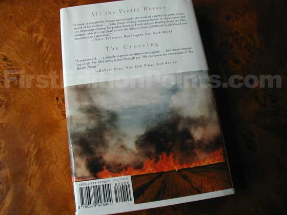 Picture of the back dust jacket for the first edition of Cities of the Plain.