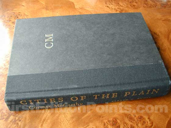 Picture of the first edition Alfred A. Knopf boards for Cities of the Plain.