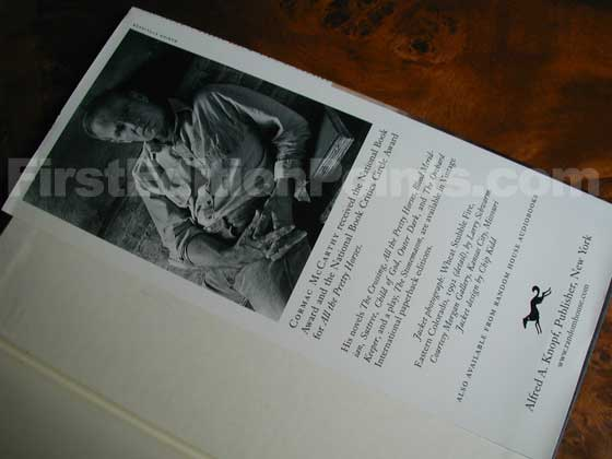 Picture of the back dust jacket flap for the first edition of Cities of the Plain.