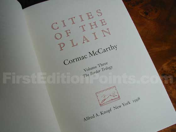 Picture of the first edition title page for Cities of the Plain.