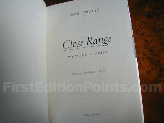 This is the first trade edition title page for Close Range.