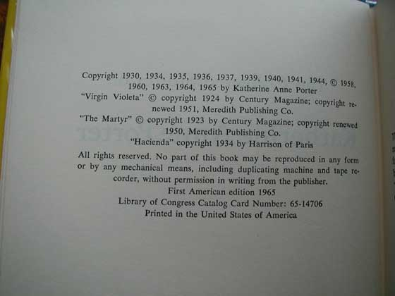 Picture of the first edition copyright page for The Collected Stories of Katherine Anne