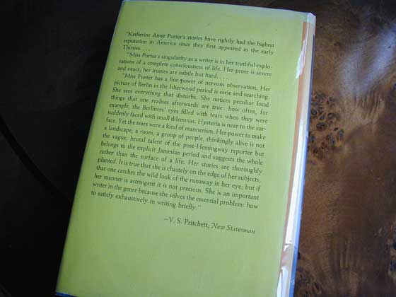 Picture of the back dust jacket for the first edition of The Collected Stories of