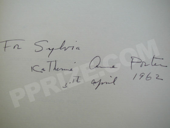 Autograph: Signature of Katherine Anne Porter.