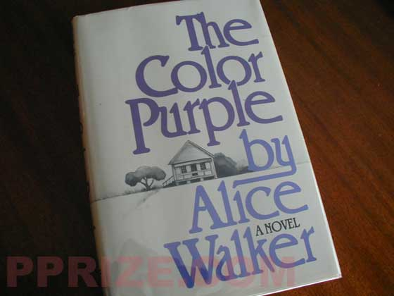 Picture of the 1982 first edition dust jacket for The Color Purple.