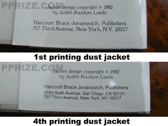On the first printing dust jacket, the bottom of the back flap does not have the San