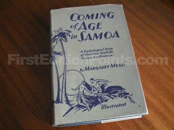 Picture of the 1928 first edition dust jacket for Coming of Age in Samoa.