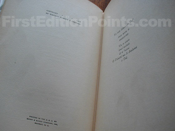 Picture of the first edition copyright page for Coming of Age in Samoa.