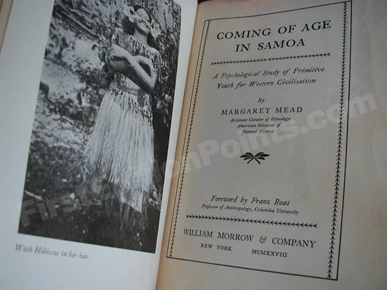 This is the title page from the first edition of Coming of Age in Samoa.
