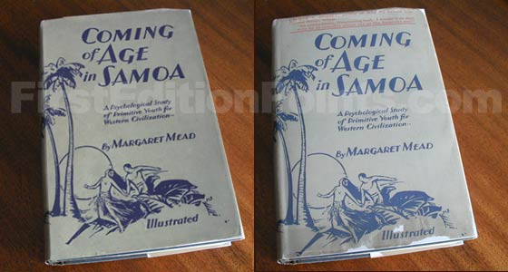The first edition dust jacket of Coming of Age in Samoa has no reviews on the front like