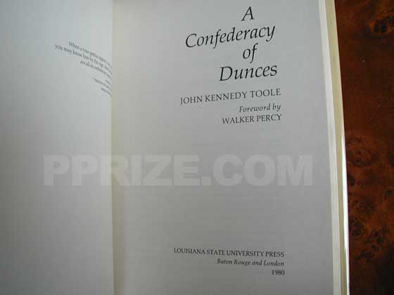 Picture of the title page for A Confederacy of Dunces.