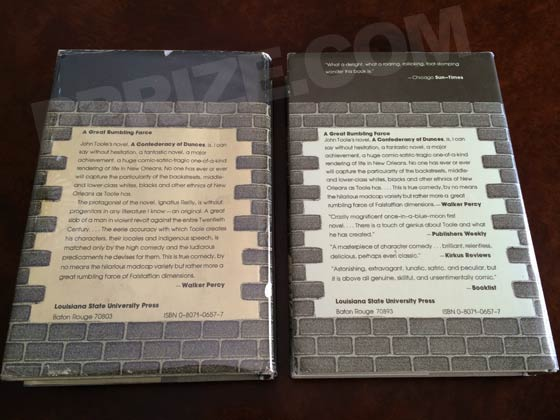 The back of the first issue dust jacket (like the one on the left) has a single blurb, by