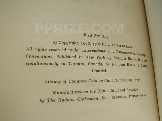 Picture of the first edition copyright page for The Confessions of Nat Turner.