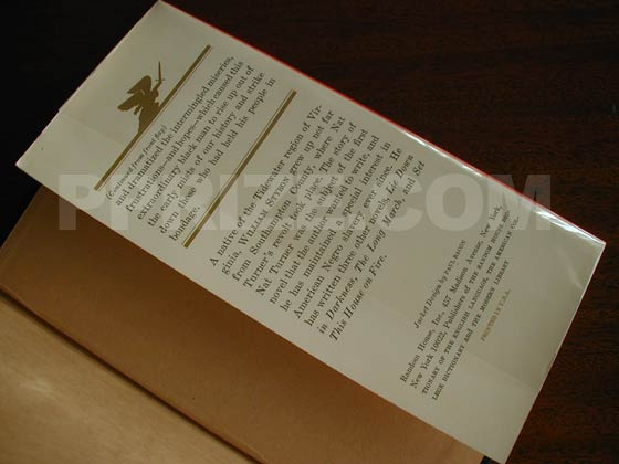 Picture of the back dust jacket flap for the first edition of The Confessions of Nat