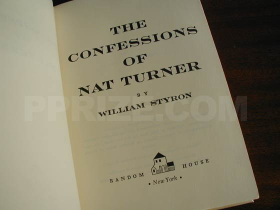 Picture of the first edition title page for The Confessions of Nat Turner.