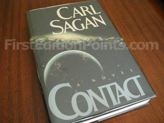 Picture of the 1985 first edition dust jacket for Contact.