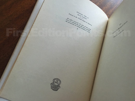 Picture of the first edition copyright page for Cry, the Beloved Country (US).