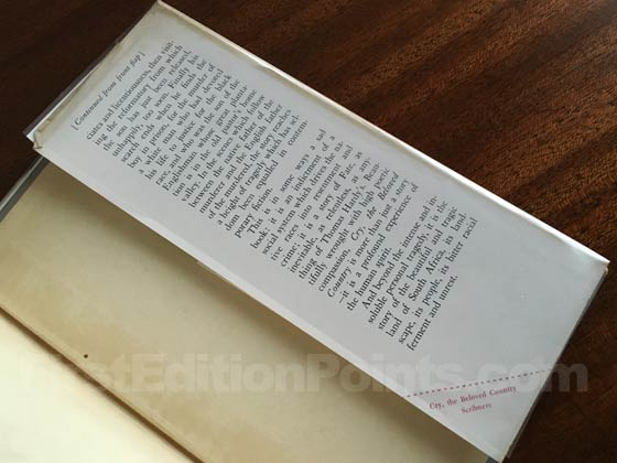 Picture of the back dust jacket flap for the first edition of Cry, the Beloved Country
