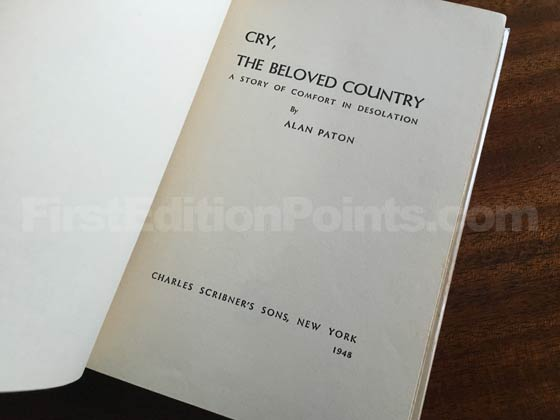 Picture of the first edition title page for Cry, the Beloved Country (US).