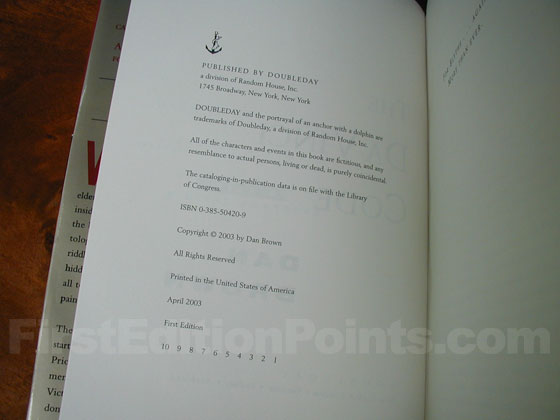 Picture of the first edition copyright page for The Da Vinci Code.