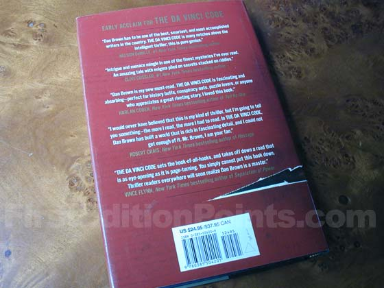 Picture of the back dust jacket for the first edition of The Da Vinci Code.