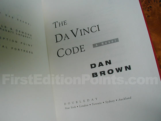Picture of the first edition title page for The Da Vinci Code.